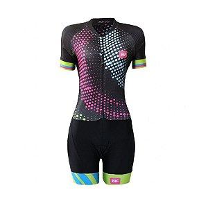 Macaquinho ciclismo feminino Be Fast Ondas forro em gel