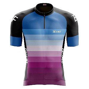 Camisa de ciclismo feminina Be Fast degradê
