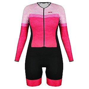 Macaquinho de ciclismo feminino manga longa SportXtreme Comfort Mescla