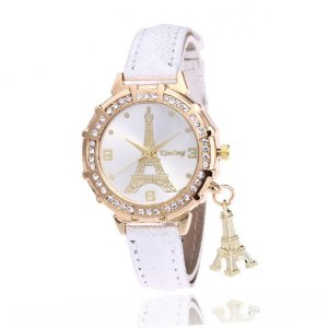 Relógio Feminino com Pulseira em Couro ou Aço Eiffel