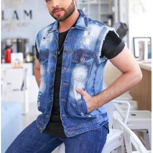 Colete Jeans Masculino Destroyed ou Normal