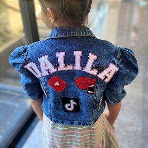 Jaqueta Jeans Feminina Adulto ou Infantil com Bordados
