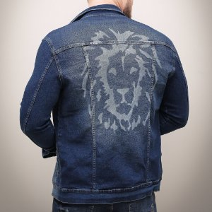 Jaqueta Jeans Masculina Azul Leão
