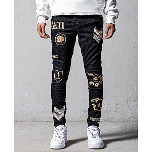 Calça Jeans Masculina Skinny Patches Full House