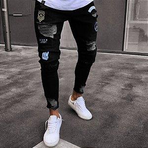 Calça Jeans Masculina Destroyed Skinny Patch Militar