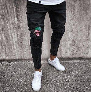 Calça Jeans Masculina Skinny Preta Donkey com Zíper na Barra