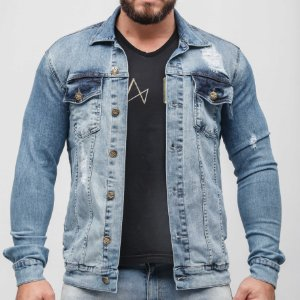 Jaqueta Jeans Masculina Azul Claro Leão