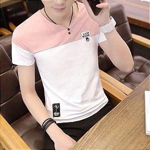 Camiseta Henley Slim Fit Gola Sem Costura