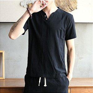 Camiseta Henley em Linho Slim