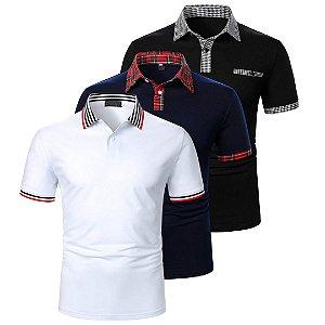 Kit com 3 - Camisa Gola Polo Masculina Premium