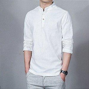 Camisa Bata Masculina de Manga Longa
