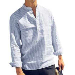 Camisa Bata Masculina de Manga Longa Listrada