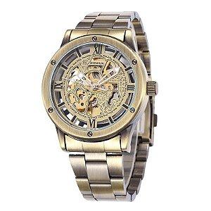 Relógio Masculino Automático Shenghua - Ouro Envelhecido