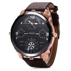 Relógio Masculino com Pulseira em Couro Four Leather
