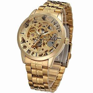 Relógio Automático Forsining Skeleton - Dourado / Prata