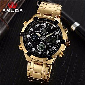 aa06d58491c Relogio Masculino Dourado Digital Amuda - Barato - Dali Relógios