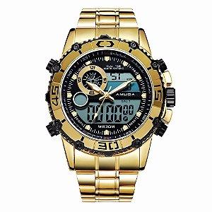 9b566ed2a30 Relogio Masculino Digital Dourado Prata - Dali Relógios