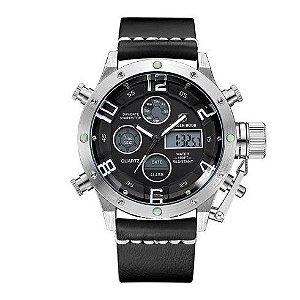 Relógio Digital Masculino Golden Hour Couro Black