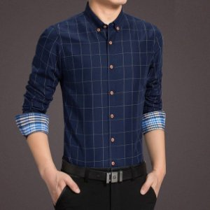 Camisa Social Masculina Xadrez - Azul