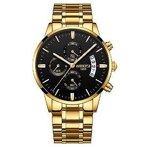 caed41633e8 Dourados. Relógio Blindado NIBOSI Inox Funcional