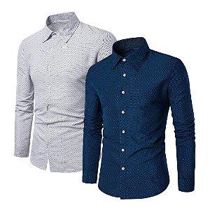 Kit com 2 - Camisa Masculina Social Slim Fit Estampada - Branca e Azul Escuro