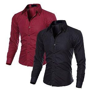 Kit com 2 - Camisa Masculina Social Slim Fit - Vinho e Preta