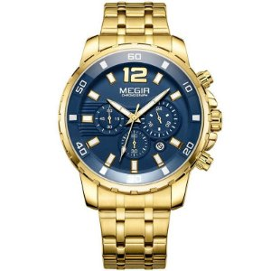 Relógio Masculino Dourado Megir Executive