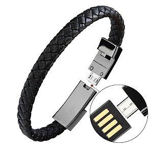 Pulseira Unissex Em Couro Com Carregador USB Para Iphone e Android