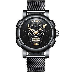 Relógio Masculino Inox Gimto Skull