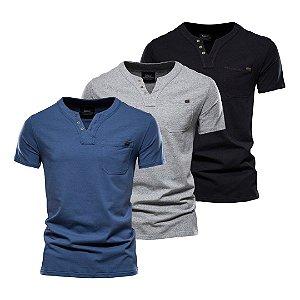Kit com 3 - Camiseta Masculina - Gola Henley