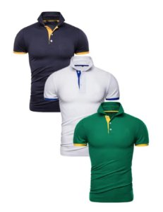 Kit com 3 - Camisa Polo Masculina - Verde, Branco e Azul