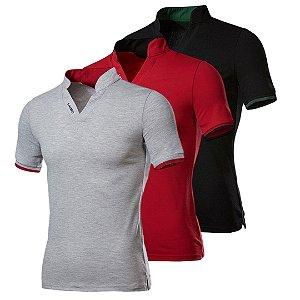 Kit com 3 - Camisa / Camiseta Masculina - Gola Padre