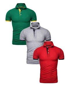 Kit com 3 - Camisa Polo Masculina - Verde, Cinza e Vermelha