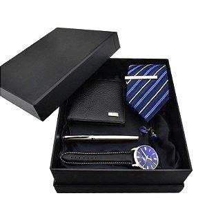 Kit Presente para Homens com 1 Relógio + 1 Gravata + 1 Caneta + 1 Carteira