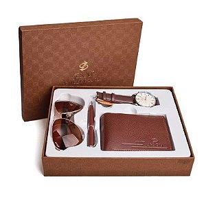 Kit Presente para Homens com 1 Relógio + 1 Óculos de Sol + 1 Carteira em Couro + 1 Caneta