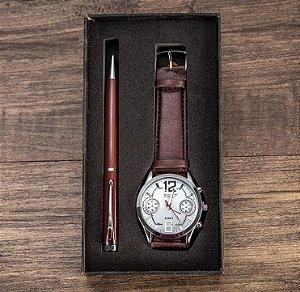 Kit Presente para Homens com 1 Relógio + 1 Caneta
