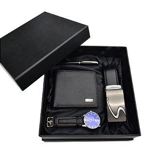 Kit Presente para Homens com 1 Relógio + 1 Carteira + 1 Cinto + 1 Caneta