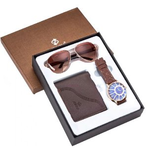 Kit Presente para Homens com 1 Relógio + 1 Óculos de Sol + 1 Carteira