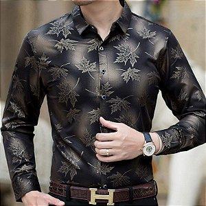 Camisa Social Masculina Slim Fit Floral
