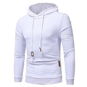 Blusa de Moletom com Capuz Texturizada - Branca