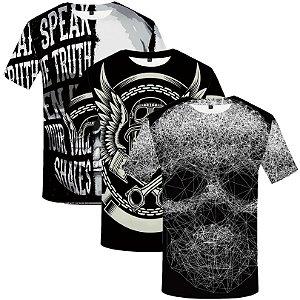 Kit com 3 Camisetas Masculinas - Estampa 3D Caveira