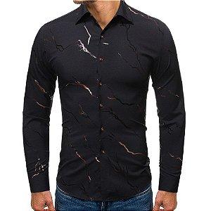 Camisa Social Masculina Slim Fit - Estampada Raios