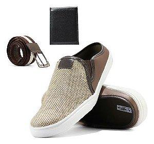 Sapato Mocassim Mule Slip Masculino + Carteira e Cinto de Brinde