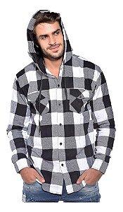 Camisa Xadrez Masculina com Capuz - Algodão