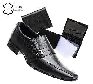 Sapato Masculino Social em Couro + Carteira em Couro de Brinde