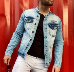 Jaqueta Jeans Masculina Slim Fit Premium Destroyed