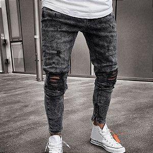 Calça Jeans Masculina Skinny Destroyed Zíper - Grafite