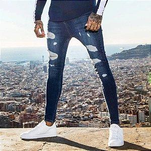 Calça Jeans Masculina Skinny Destroyed - Azul