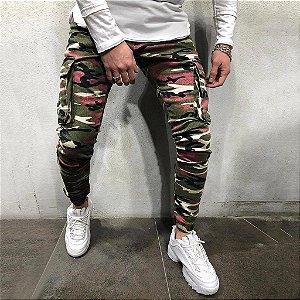 Calça Jeans Masculina Skinny Militar Camuflada