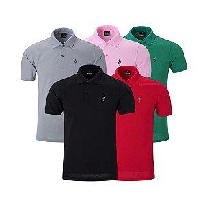 Kit com 5 - Camisa Masculina Gola Polo